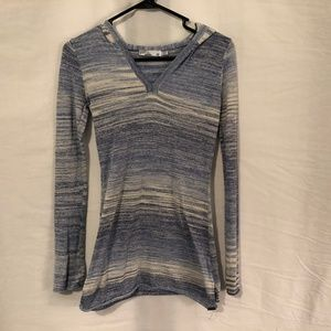 Prana XS Hooded Top Blue White Knit Cotton 183